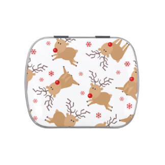 Cute Reindeer Holiday Pattern White Red Snowflake Candy Tins