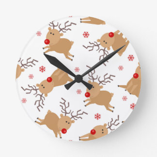 Cute Reindeer Holiday Pattern White Red Snowflake Round Clock