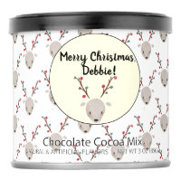 Cute Reindeer Hot Chocolate Drink Mix Gift can