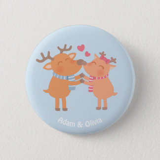 Cute Reindeer in Love Nose Nuzzle Button