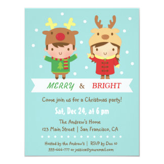 cute reindeer kids christmas party invitations - Invitation Party