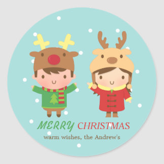 Cute Reindeer Kids Merry Christmas Party Favors Classic Round Sticker