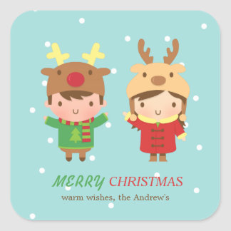 Cute Reindeer Kids Merry Christmas Party Favors Square Sticker