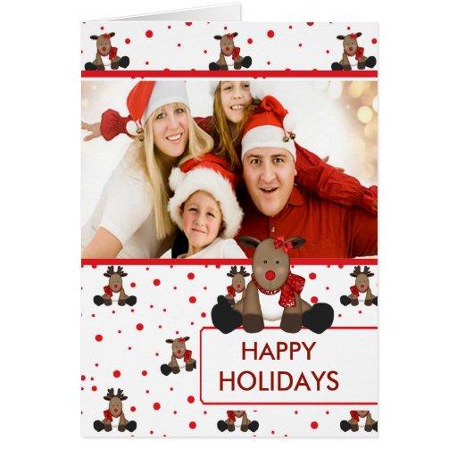 CUTE Reindeer Merry Christmas Family Photo Card