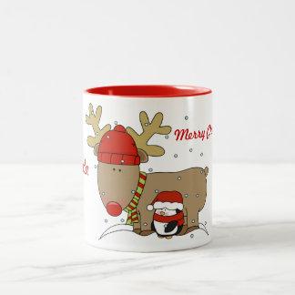 Cute Reindeer & Penguin Christmas Coffee Mug
