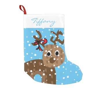 Cute Reindeer Personalized Script Name Small Christmas Stocking