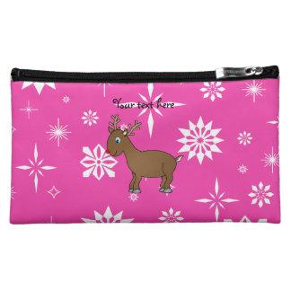 Cute reindeer pink and white snowflakes makeup bag