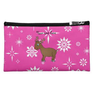 Cute reindeer pink and white snowflakes makeup bags