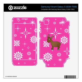 Cute reindeer pink and white snowflakes skin for samsung vibrant