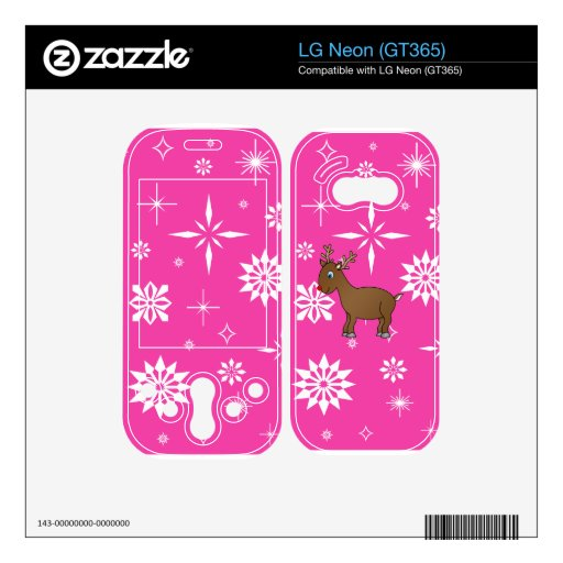 Cute reindeer pink and white snowflakes LG neon decal