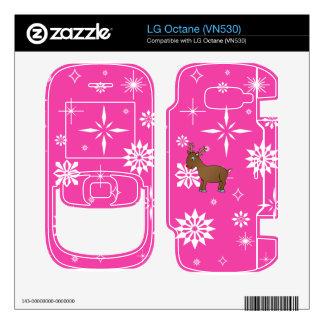 Cute reindeer pink and white snowflakes LG octane skin