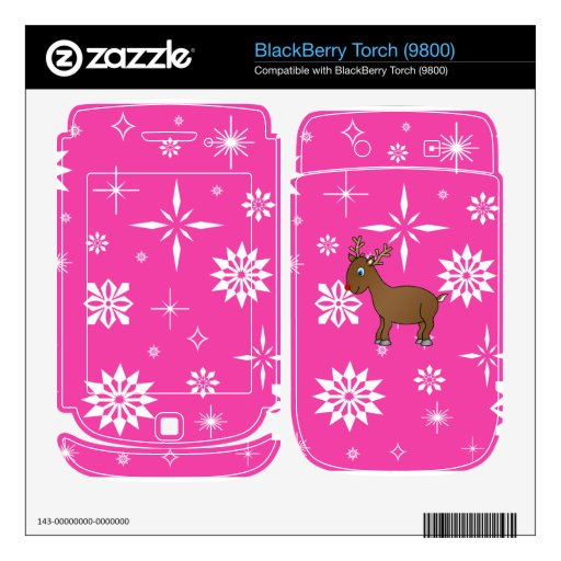 Cute reindeer pink and white snowflakes skin for BlackBerry torch