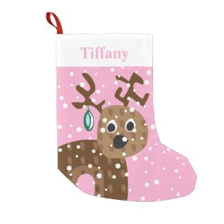 Cute Reindeer Pink Girls Personalized Small Christmas Stocking