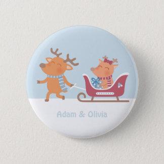 Cute Reindeer Pulls Sleigh Christmas Button