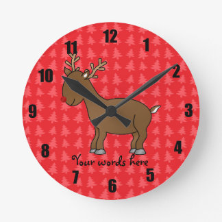 Cute reindeer red christmas tree background round clock