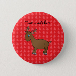 Cute reindeer red christmas tree background pinback button