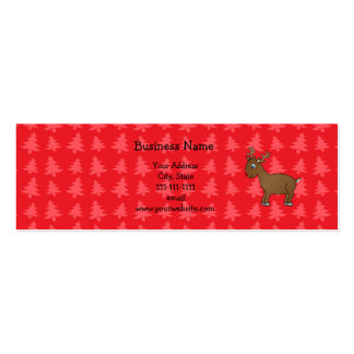 Cute reindeer red christmas trees business card