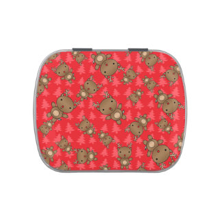 Cute reindeer red christmas trees candy tins