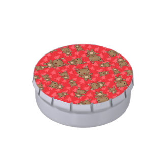 Cute reindeer red christmas trees jelly belly candy tins