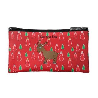 Cute reindeer red snowman pattern cosmetic bags