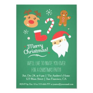 Cute Reindeer Santa Christmas Party Invitations
