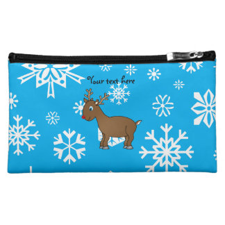 Cute reindeer sky blue and white snowflakes cosmetics bags