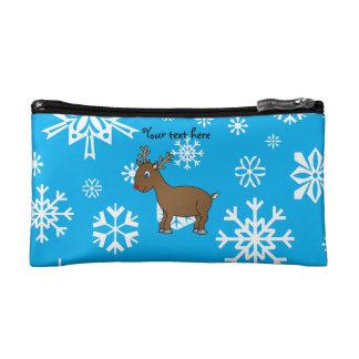 Cute reindeer sky blue and white snowflakes makeup bag