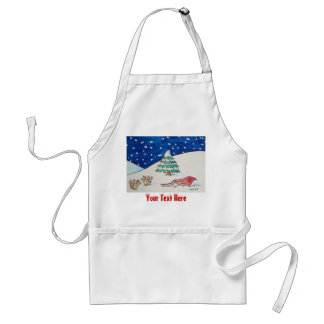 Cute reindeer snow scene with sleigh and tree adult apron
