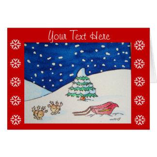 Cute reindeer snow scene with sleigh and tree card