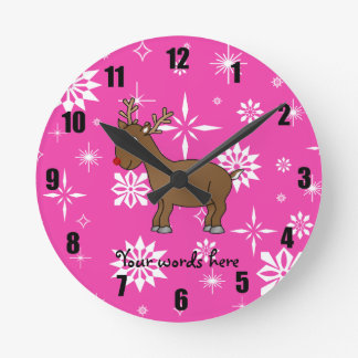 Cute reindeer white and pink snowflakes round wall clock