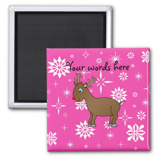 Cute reindeer white and pink snowflakes magnet