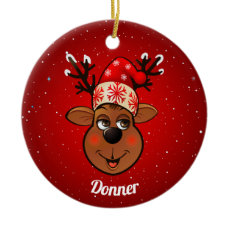 Cute Reindeer With Christmas Hat Ceramic Ornament