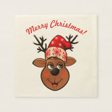 Cute Reindeer With Christmas Hat Napkin