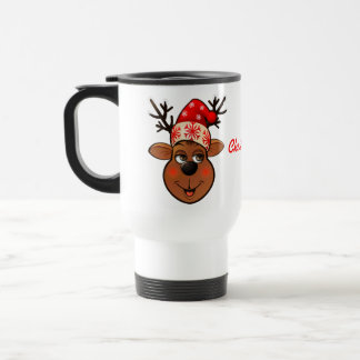 Cute Reindeer With Christmas Hat Travel Mug