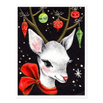 Cute reindeer with Christmas ornaments, vintage Postcard