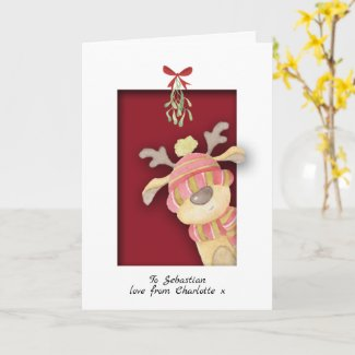 Cute Reindeer With Mistletoe Christmas Card