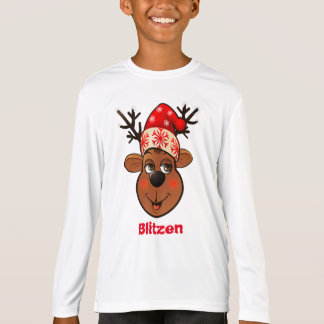 Cute Reindeer With Red Christmas Hat T-Shirt