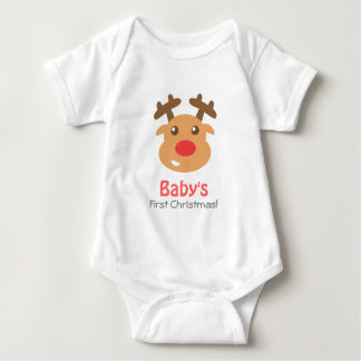 Cute Reindeer with Red Nose for Baby 1st Christmas Baby Bodysuit