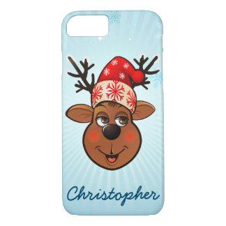 Cute Reindeer With Santa Hat iPhone 8/7 Case