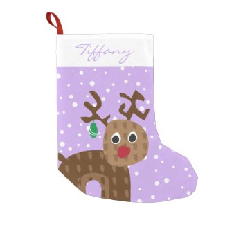 Cute Reindeer with Snow Falling Small Christmas Stocking
