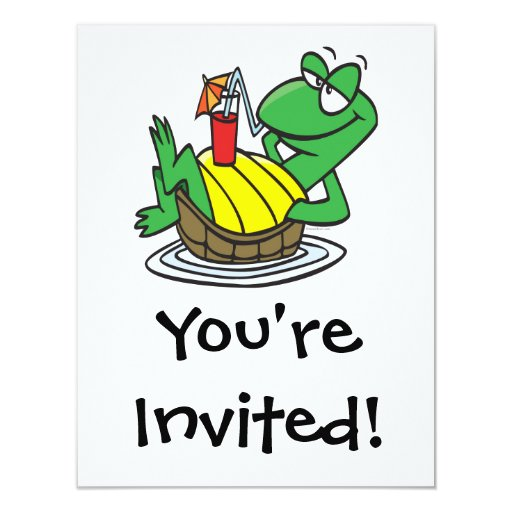 cute relaxing floating turtle cartoon 4.25x5.5 paper invitation card