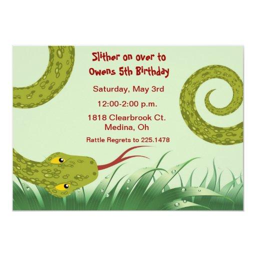 cute reptile birthday party invitation