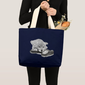 Cute retriever puppy dog black and white art large tote bag