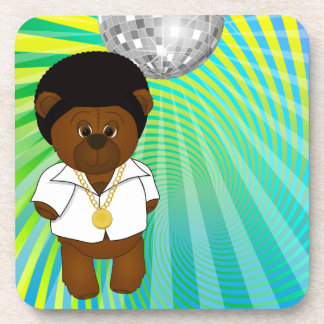 Cute Retro 1970s Disco Dancing Teddy Bear Cartoon Beverage Coaster