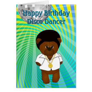 Cute Retro 1970s Disco Dancing Teddy Bear Cartoon Card