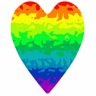 Cute retro 80's psychadelic wild rainbow heart cutout