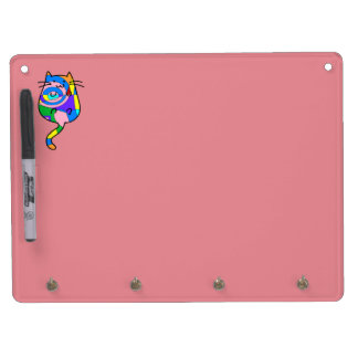 Cute Retro Abstract Cat Dry Erase Board With Keychain Holder