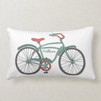Cute Retro Bicycles with Personalized Names Lumbar Pillow