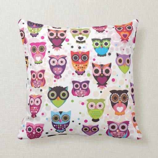 Cute Owl Pillow Pattern : Cute retro bird owl pattern pillow case Zazzle