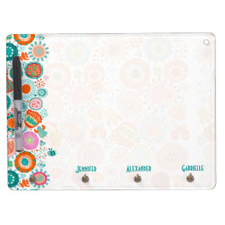 Cute Retro Birds & Flowers 2- Pink & Blue-Green Dry Erase Board With Keychain Holder
